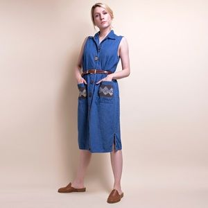 Vintage 90s denim sleeveless market dress